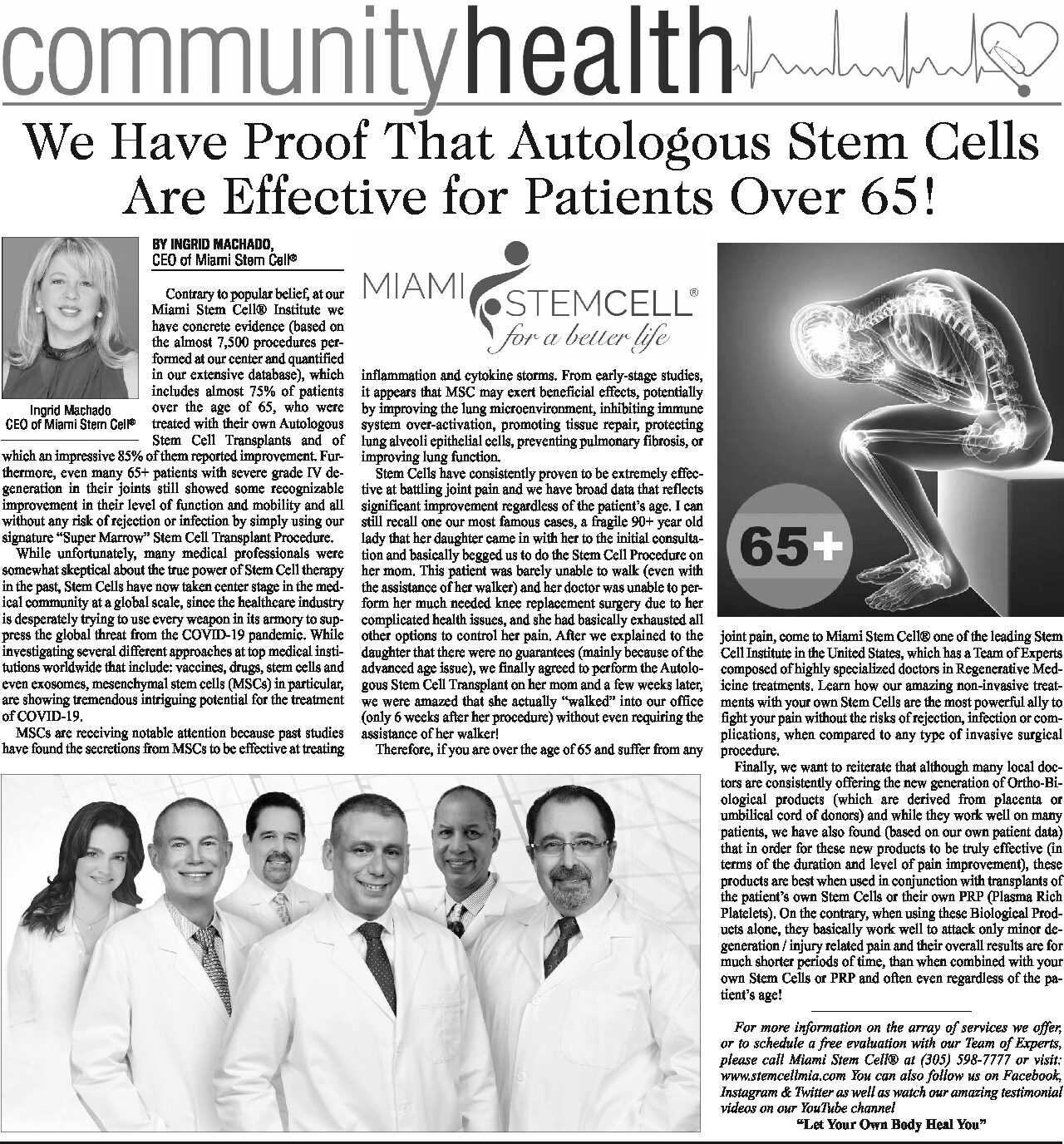 We Have Proof That Autologous Stem Cells Are Effective for Patients Over 65!